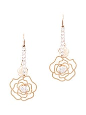 Golden Hanging Rose With Stone Strips Earring - THE BLING STUDIO