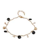 Golden  Bracelet With Black Stones - THE BLING STUDIO