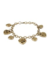 Antique Gold Bracelet With Heart Charms - THE BLING STUDIO