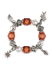 Silver  Brown Beads Bracelet With Cupid Charm - THE BLING STUDIO