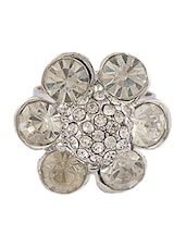 Silver  Ring With Stone Flower - THE BLING STUDIO