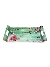 Floral Printed Serving Tray With Handle - VALERIO - 982632