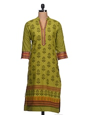 Block Print Cotton Kurta With Embroided Neck & Sleeves - Rainbow Hues