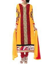 Yellow And Red Embroidered Georgette Semistitched Salwar Suit - By