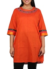 Orange Short Sleeved South Cotton Kurta - By