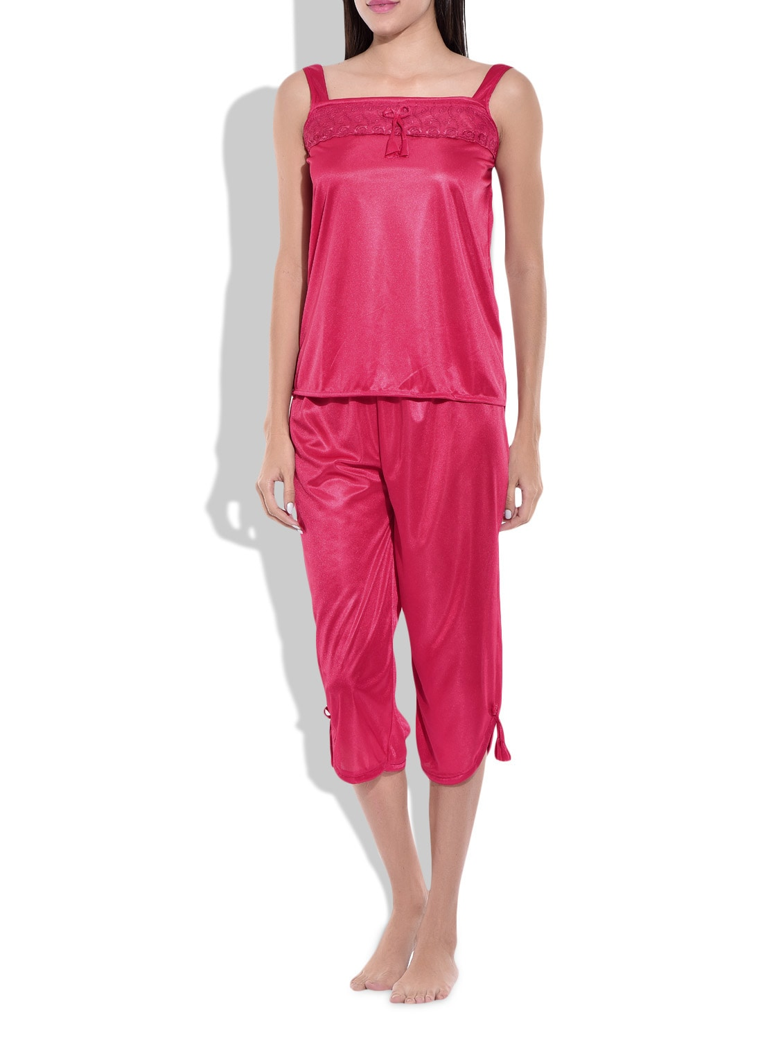 46f0b61e9 Buy Red Poly Satin Nightwear Set for Women from Klamotten for ₹386 at 57%  off