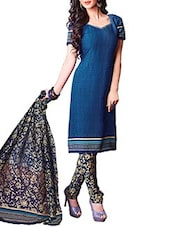 Blue Crepe Printed Unstitch Dress Material - By