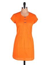 Orange Pin Tucked Cotton Kurti - Cotton Curio