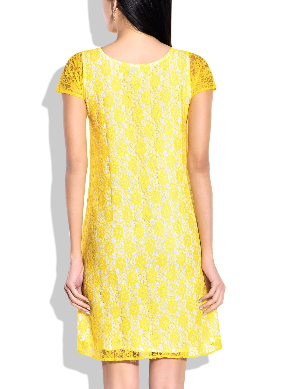 f18f65e537be Buy Yellow Dress With Lace Details by Rigoglioso - Online shopping for Dresses  in India