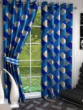 Homefab India Set Of 2 Check Aqua Blue Curtains - By
