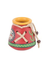 Knitted Red Terracotta Warli Handpainted  Pen Stand - ExclusiveLane