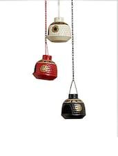 Handpainted Metal Hanging Tea Light Set Of 3 - ExclusiveLane