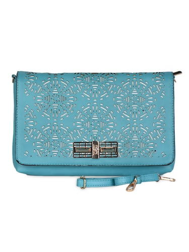 blue Leatherette Cut Work Clutch - 985221 - Standard Image - 1