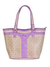 Purple & Beige Floral Cut Work Handbag - Daphne