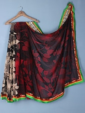 Leaf Printed Georgette Saree - Inddus