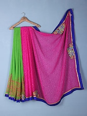 Pink & Green Printed & Embroidered Saree - Inddus