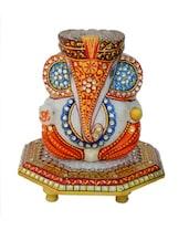 Pagadi Lord Ganesha On Marble Chowki - ECraftIndia