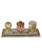 Floral Marble Pen Stand With Lord Ganesha And Clock - ECraftIndia