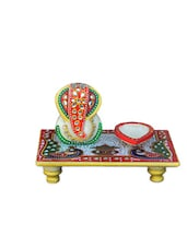 Lord Ganesha Marble Chowki With Diya - ECraftIndia