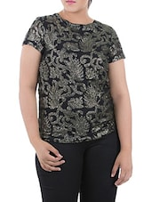 Black & Golden Polyester Top - LastInch