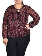 Maroon Printed Georgette Top - LastInch
