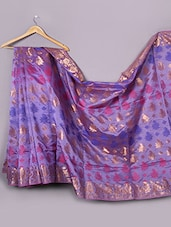 Purple Satin Silk Saree - WEAVING ROOTS