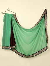 Green & Brown Georgette Saree With Brocade Border - ABHIRUPA