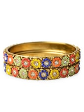 Multicolored Seed Beads Embellished Metal Alloy Bangles (set Of 2) - Bo'bell