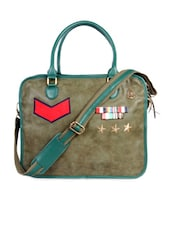 Moss Green Faux Leather Laptop Bag - HARP