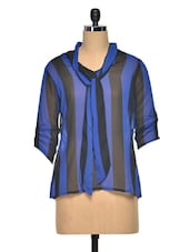 Black & Blue Poly Georgette Striped Top - Meira