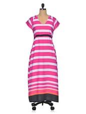 Pink & White Striped Poly Crepe Maxi Dress - Meira