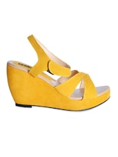 Leatherette Yellow Strap Wedges With Velcro Closure - Yepme