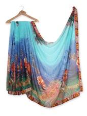 Casual Multi Color Chiffon Saree With Blue Color Bhagalpuri - Fashion Attire