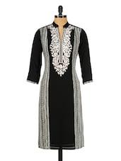 Black & White Poly Georgette Embroidered Kurta - GREEN EMERALD