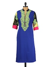 Blue & Multicolored Embroidered Button-up Sleeves Kurta - GREEN EMERALD