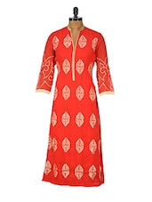 Red Poly Georgette  Embroidered Kurta - GREEN EMERALD