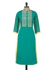 Teal Green Zari Embroidered Button Down Kurta - GREEN EMERALD