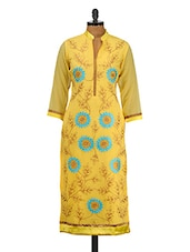 Yellow Floral Embroidered Poly Georgette Kurta - GREEN EMERALD