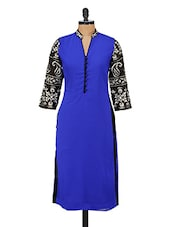 Blue & Black 3/4th Sleeves Poly Georgette Kurta - GREEN EMERALD