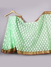 Mint Green Kora  Silk Saree - WEAVING ROOTS