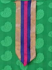 Green  Pure Jacquard Straight Cut Salwar Suit. - Viva N Diva