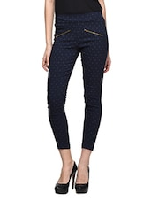 Navy Blue Lycra Fitted Jeggings - CHERYMOYA