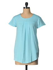 Blue Solid Polyester Top - Tops And Tunics