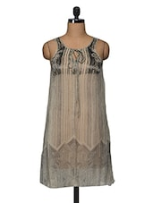 Grey Sheer Embroidered Chiffon Dress - I AM FOR YOU