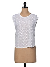 Ecru Sheer Embroidered Viscose Top - I AM FOR YOU