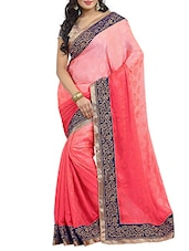 Pink Satin Chiffon  Saree - By