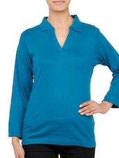 Shirt Collar Long Sleeves Cotton Top - By