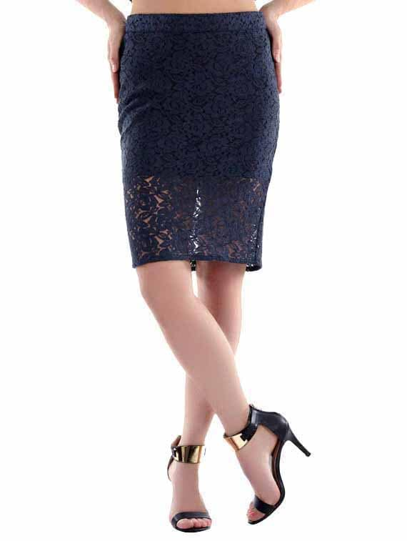Navy Blue Lace Pencil Skirt - Fuziv