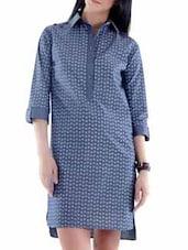 Blue Tone Chambray Dress - Fuziv