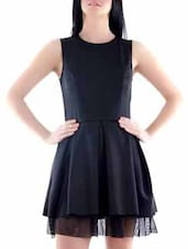 Black Polyester Dress - Fuziv